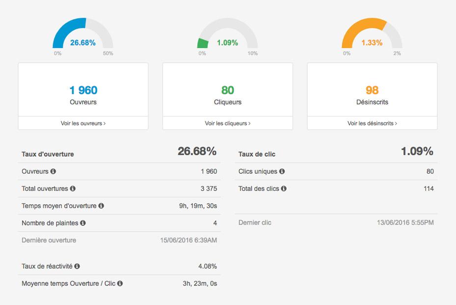 Rapport de statistiques d'ouverture - campagne d'emailing