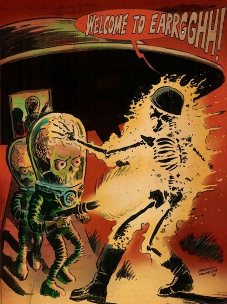 mars attack illustration 70s