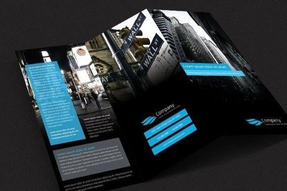 Plaquette commerciale noire 3 volets - Plis accordéons - Format A6