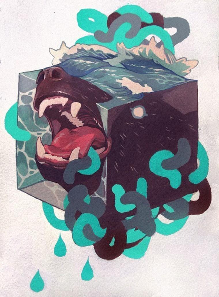 chien-dans-la-mer-peinture