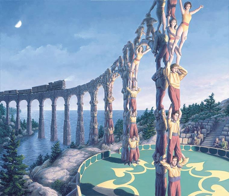 Illusion Robert Gonsalves aqueduc ou pyramide humaine de cirque