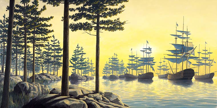 Illusion Robert Gonsalves arbres ou flotte royale