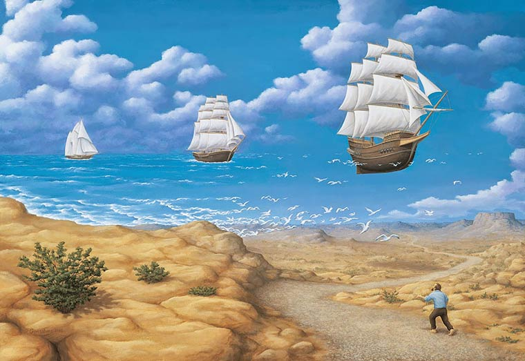 Illusion Robert Gonsalves bateaux volants