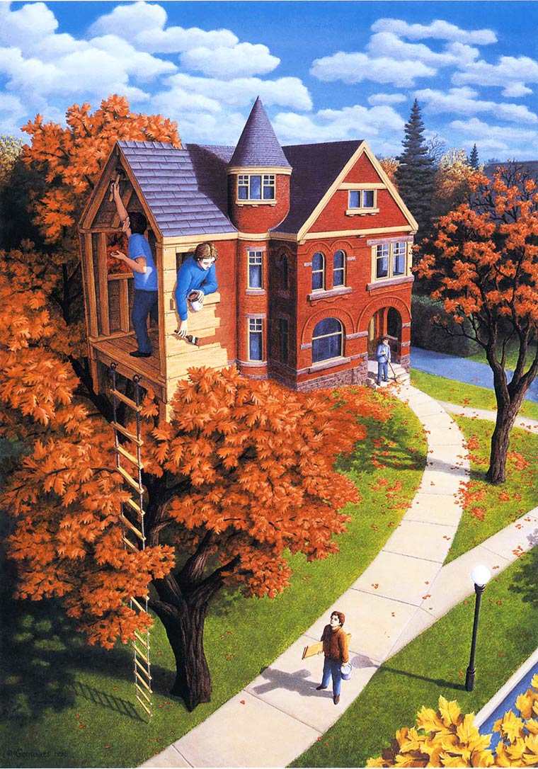 Illusion Robert Gonsalves cabane ou maison