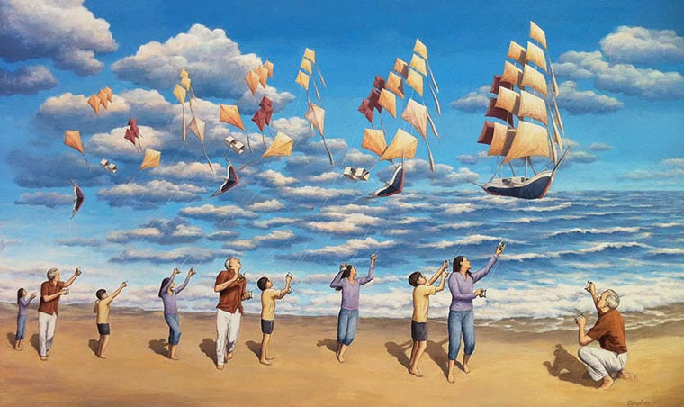Illusion Robert Gonsalves cerf volants ou bateaux flottants