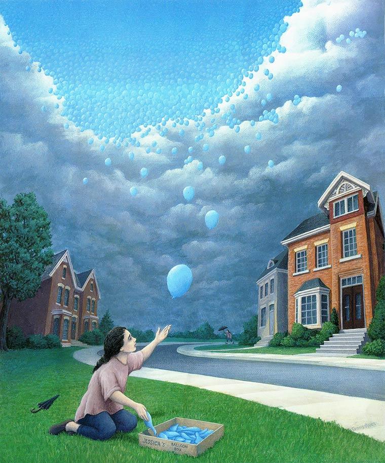 Illusion Robert Gonsalves ciel de ballons bleus