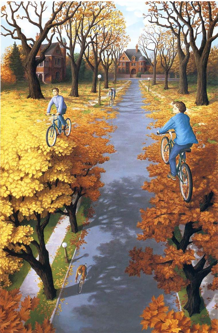 Illusion Robert Gonsalves des velos roulent sur des feuilles