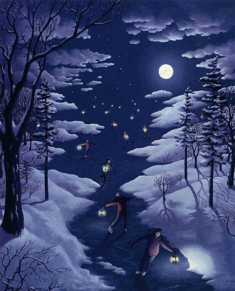 Illusion Robert Gonsalves etoiles ou patineurs de nuit