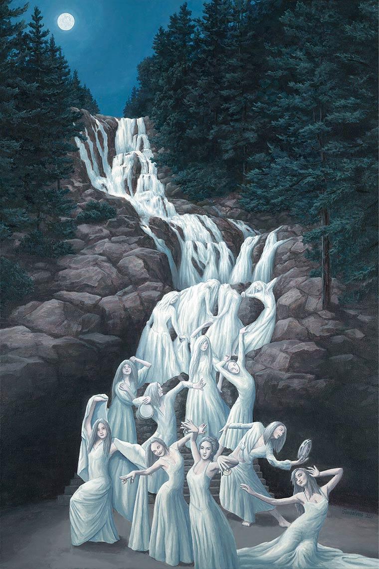 Illusion Robert Gonsalves femmes et cascade