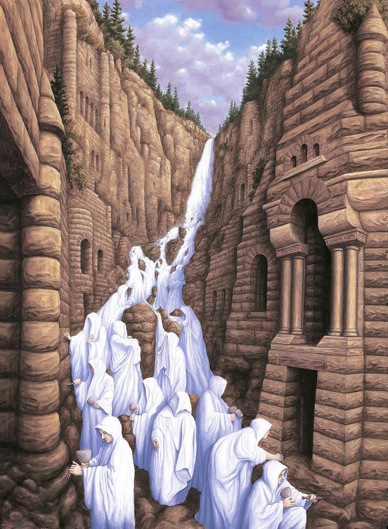 Illusion Robert Gonsalves hommes scpulteurs ou cascade