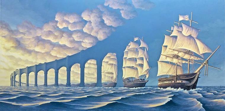 Illusion Robert Gonsalves pont et bateaux