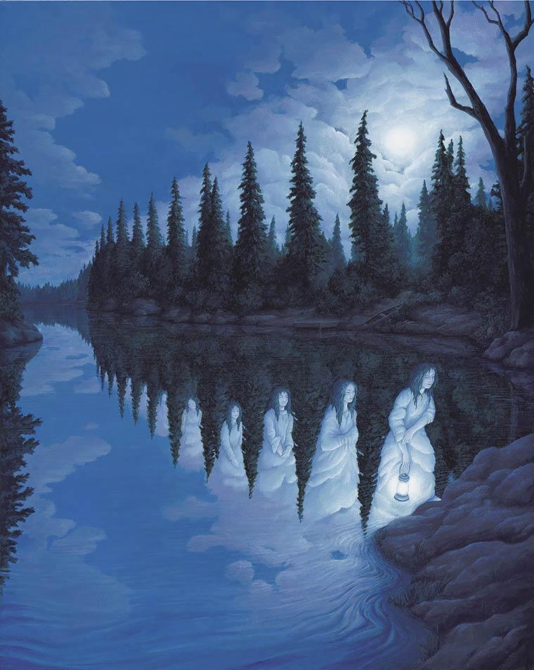 Illusion Robert Gonsalves riviere et reflexion de sapins ou femmes