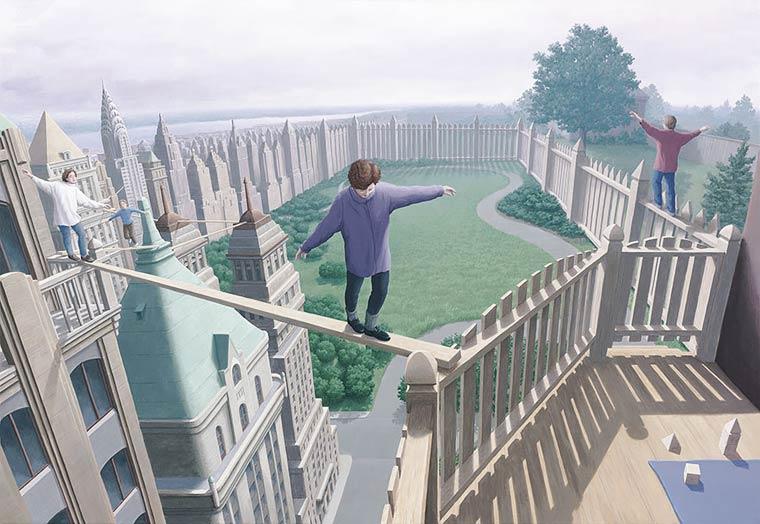 Illusion Robert Gonsalves vertige et acrobatie jardin