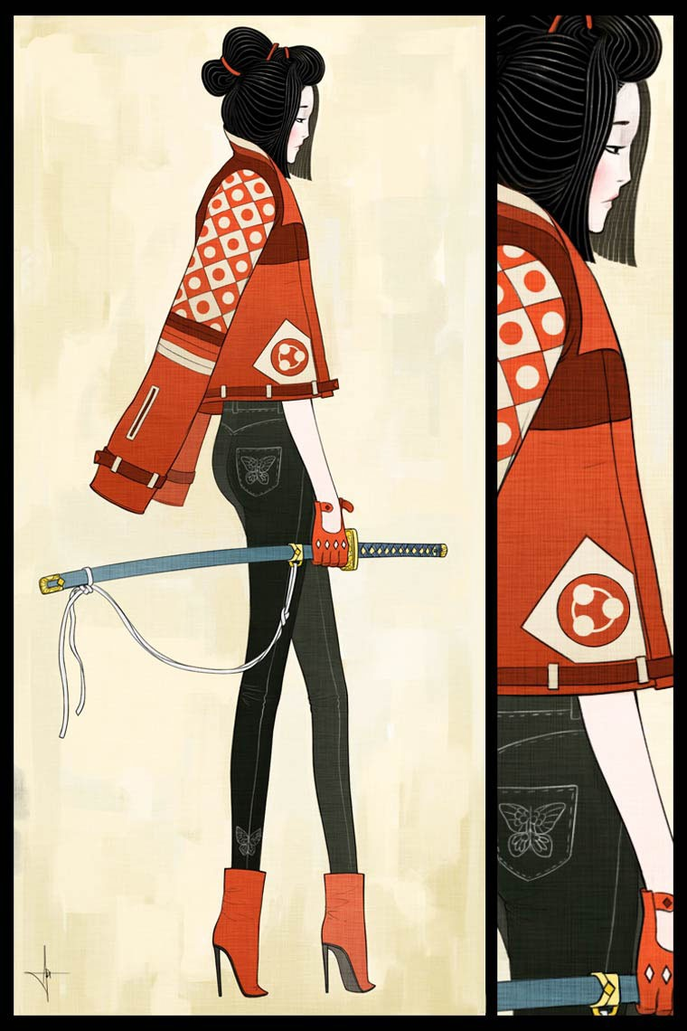 Adrian Dadich illustration lady samourai