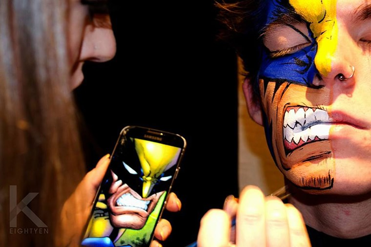 body painting wolverine face