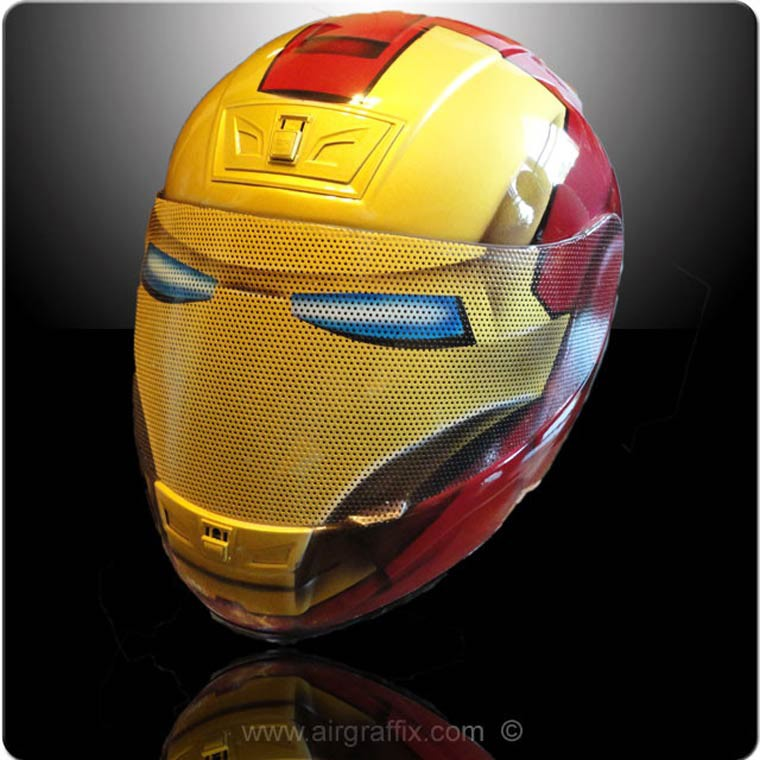casque moto AirGraffix customized motorcycle ironman