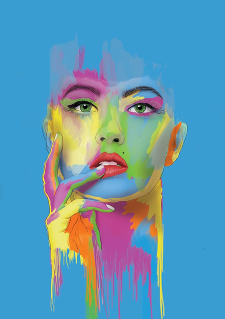 erik arthur jacobs portrait multi couleurs pop art