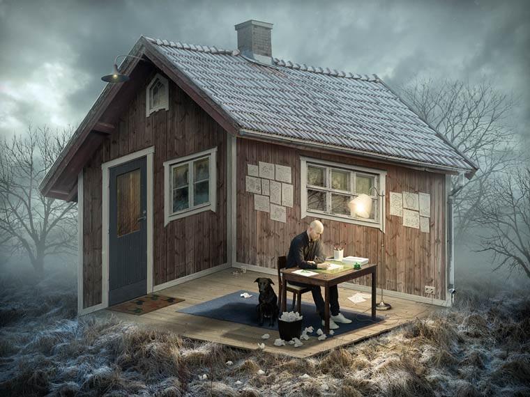Erik Johansson etrange perspective maison campagne