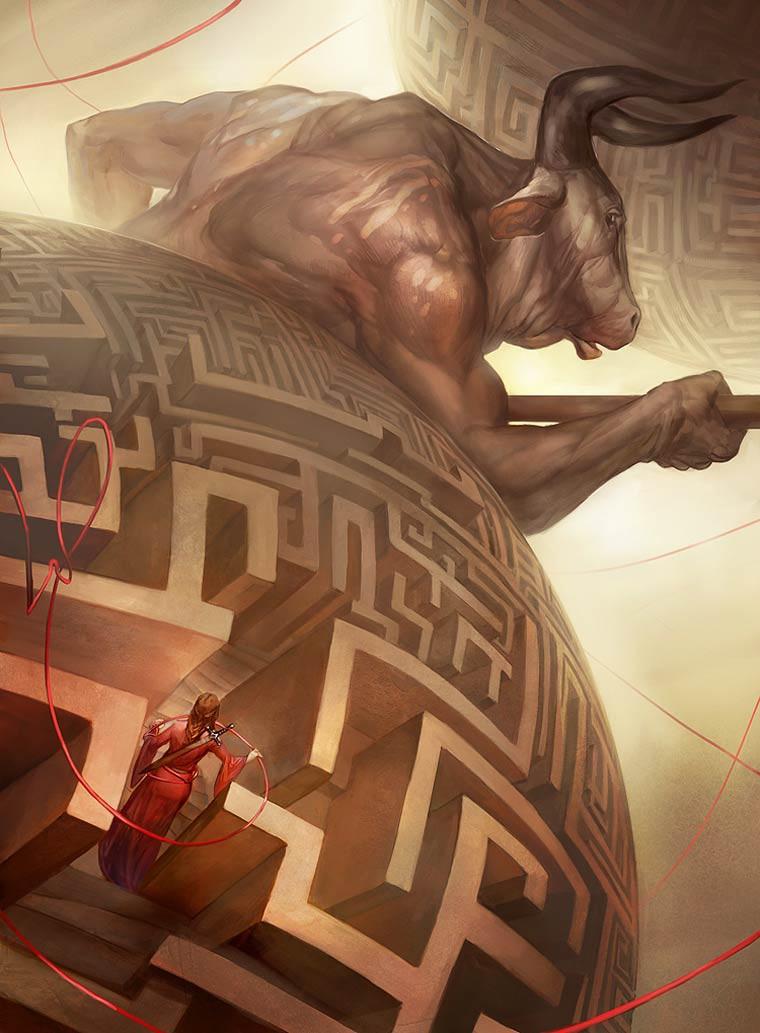 Julie Dillon Illustrations fil d ariane labyrinthe minotaure