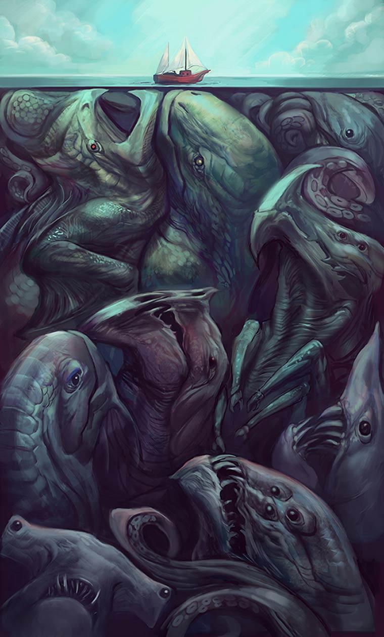 Julie Dillon Illustrations les monstres marins