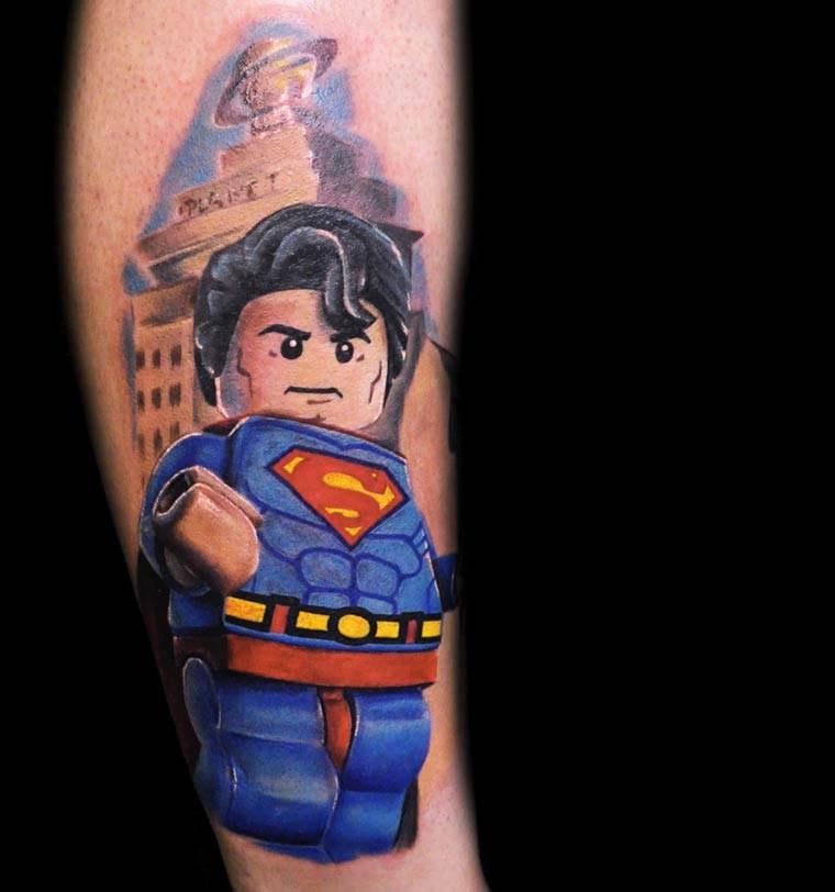 LEGO Minifig tatouage lego superman