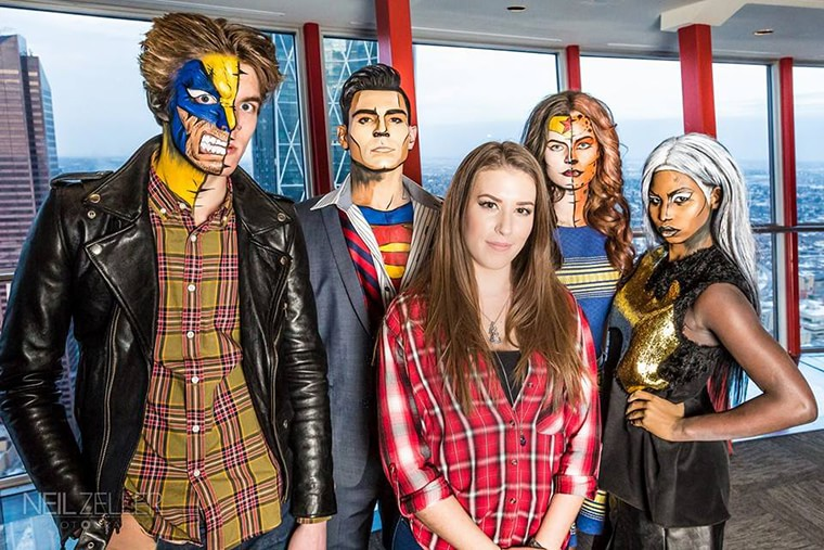 Lianne moseley with her super heroes