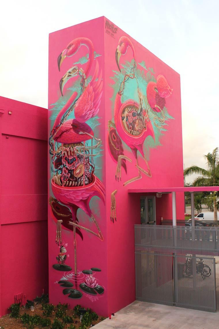 Nychos street art pelican rose