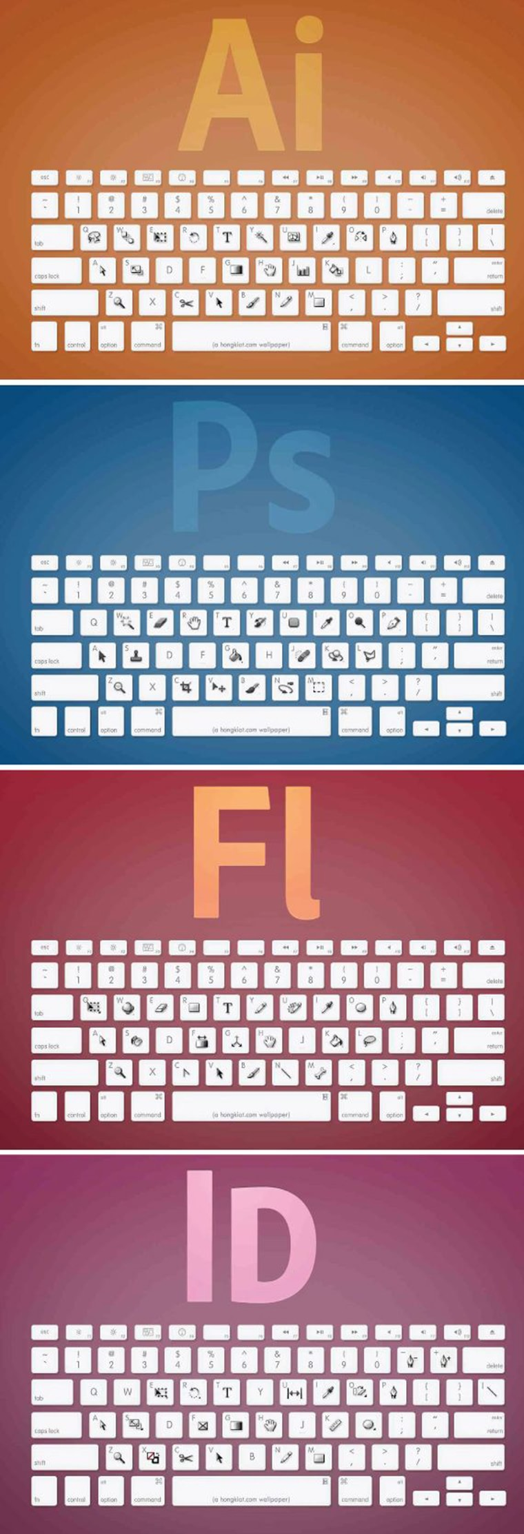raccourci clavier photoshop illustrator indesign flash apple