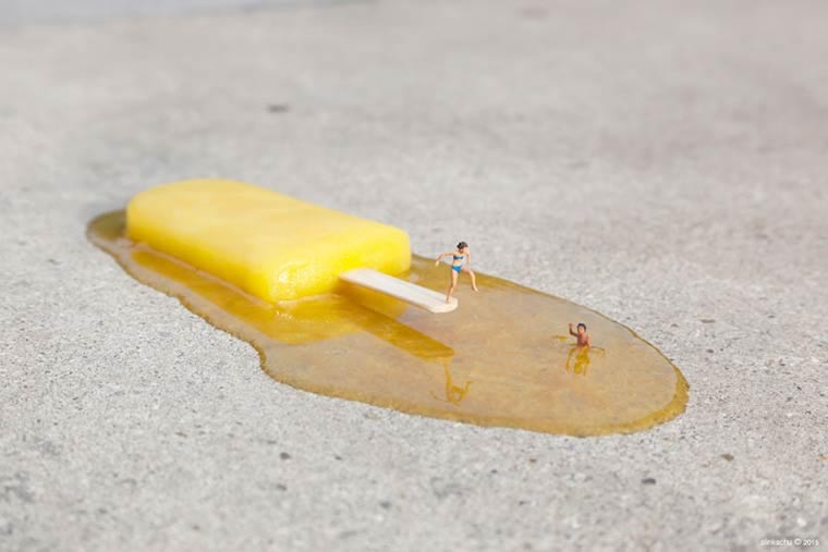 miniaturesque slinkachu street art esquimo plongeon 1