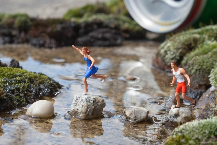 miniaturesque slinkachu street art esquimo riviere de biere
