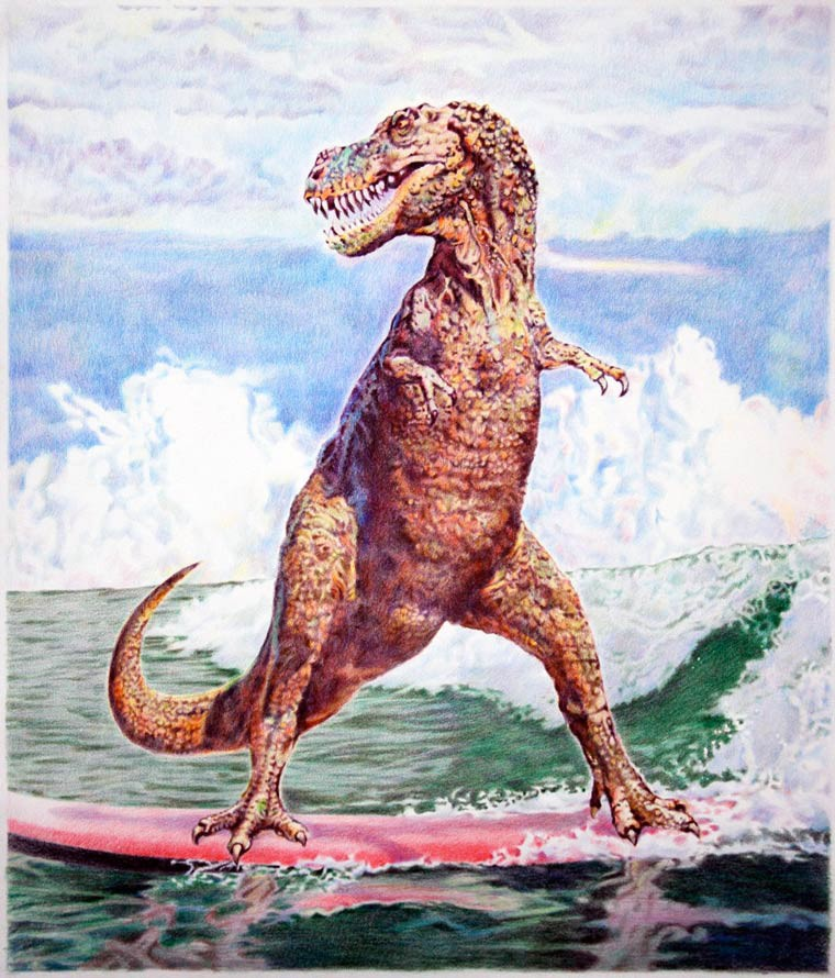 Eric Yahnker un dinosaure qui surf