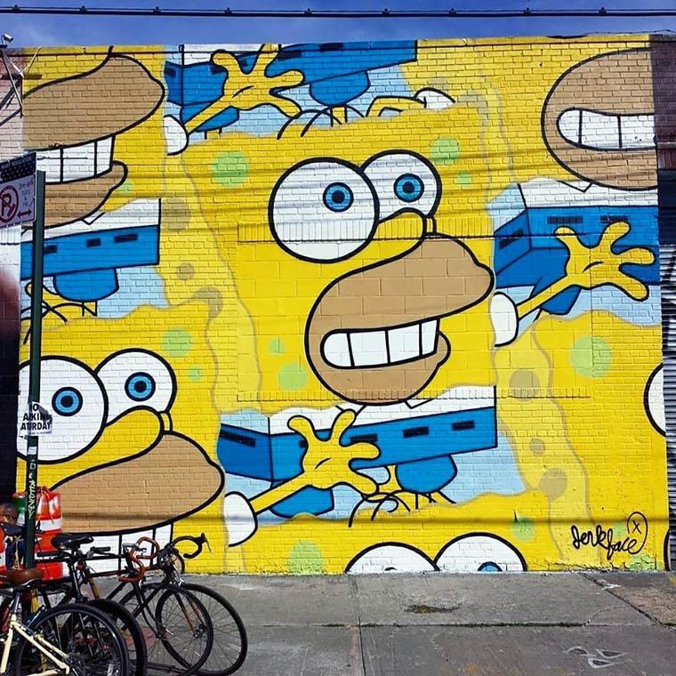 jerkface street art bob eponge homer simpson