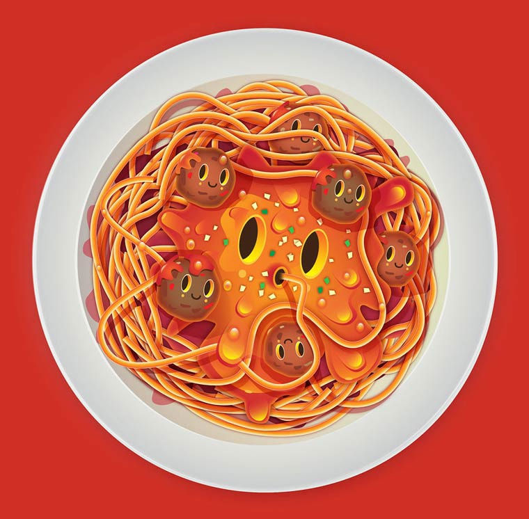 Jonathan Ball illustration un plat de spaghetti