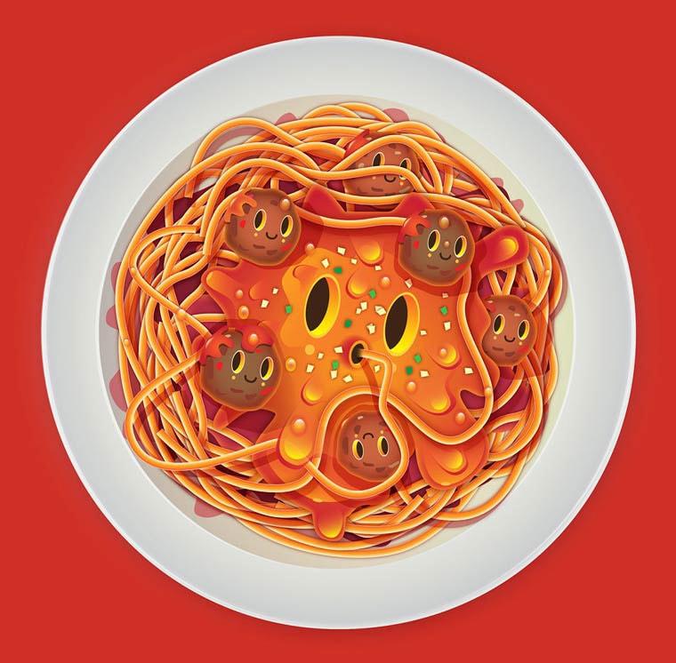 Jonathan-Ball-illustration-un-plat-de-spaghetti