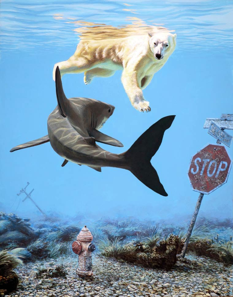 josh keyes requin vs ours blanc