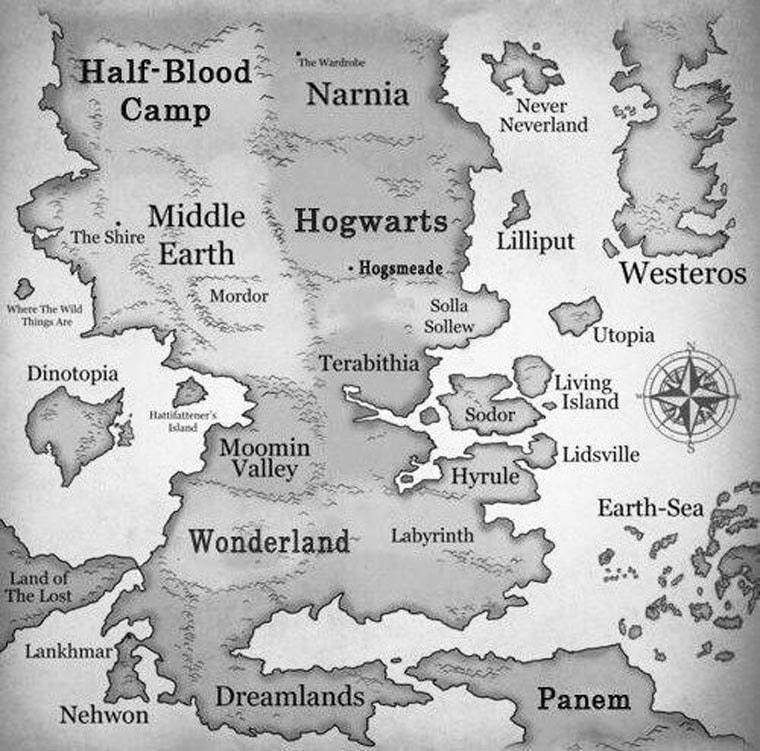 carte des mondes fantastiques