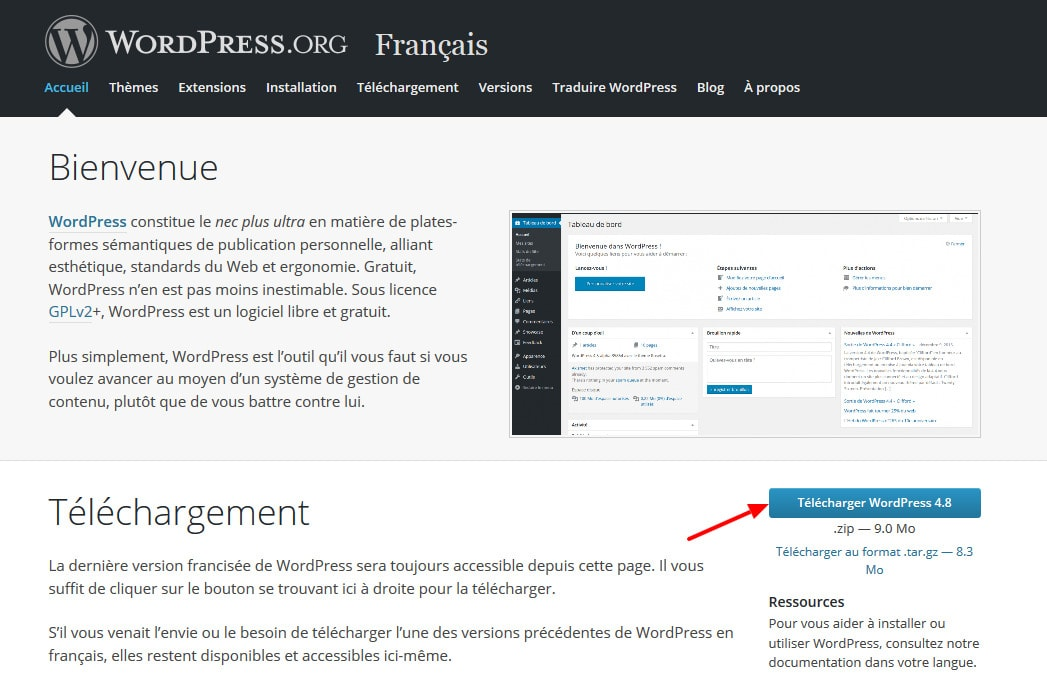 Télécharger wordpress FR