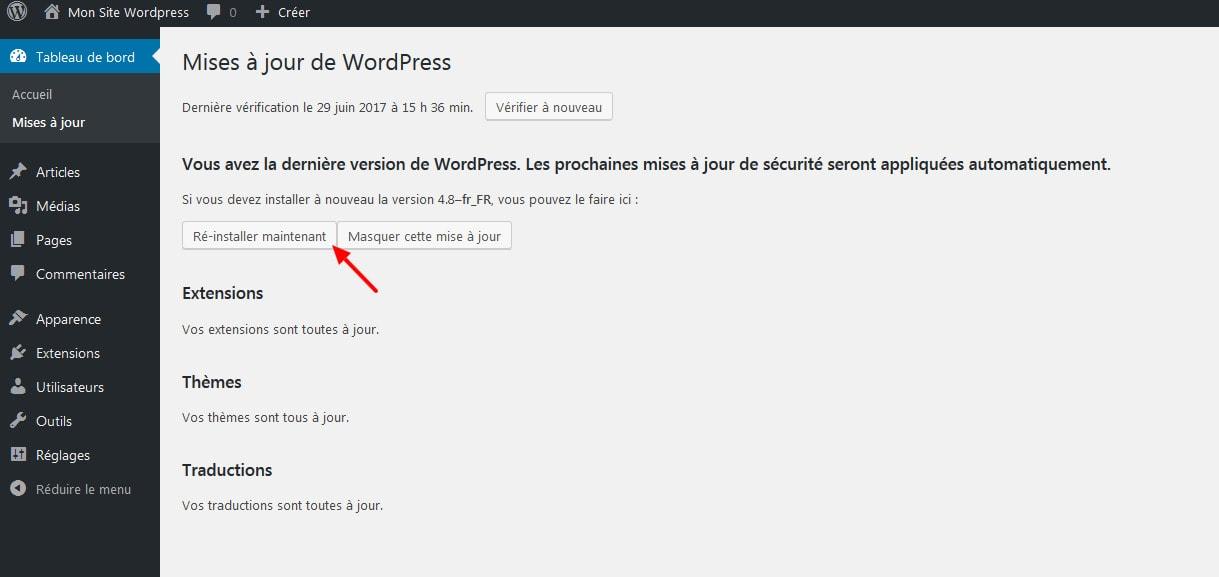 12 Verifier les mises a jour wordpress