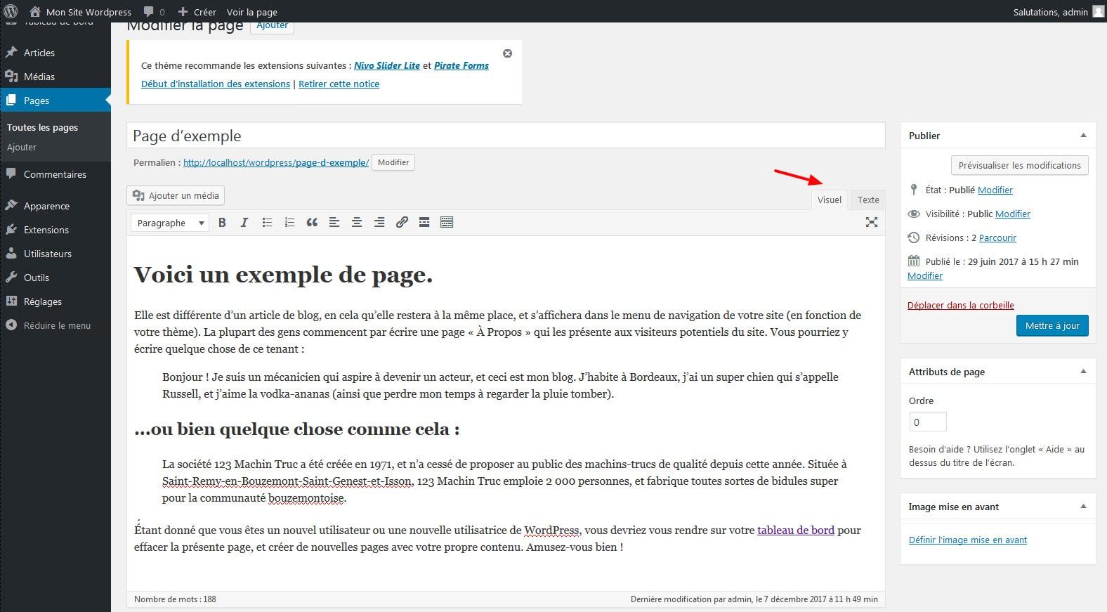 02 creer une page wordpress