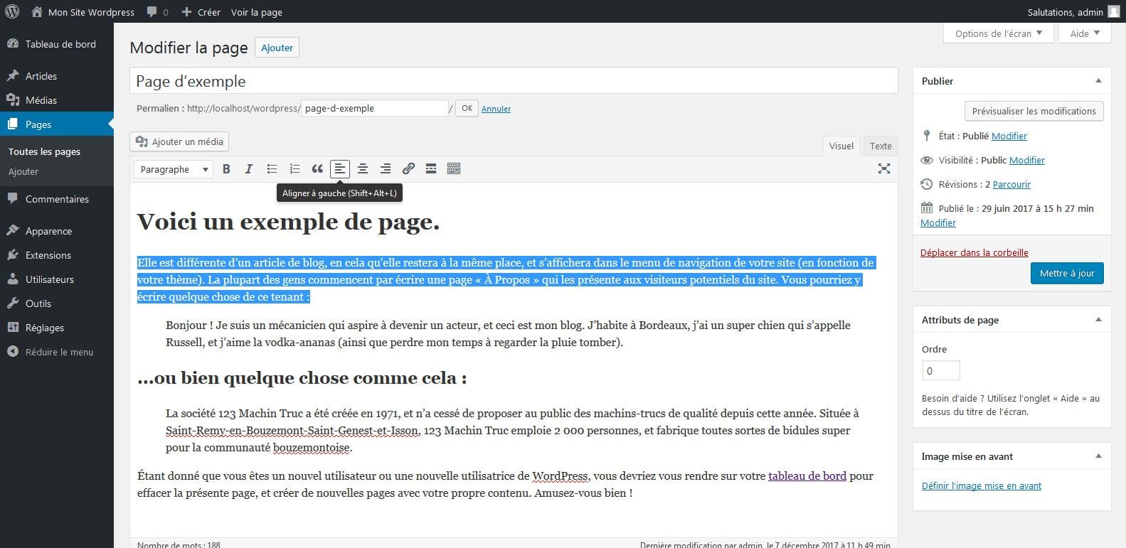 04 mettre en forme le texte de la page wordpress