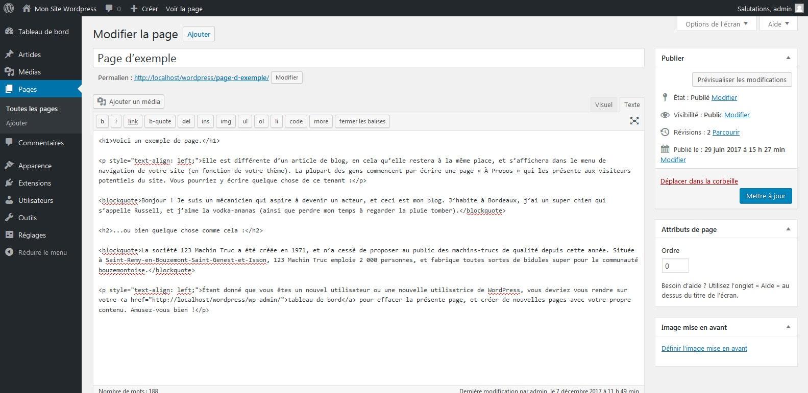 05 consulter le code html de wordpress