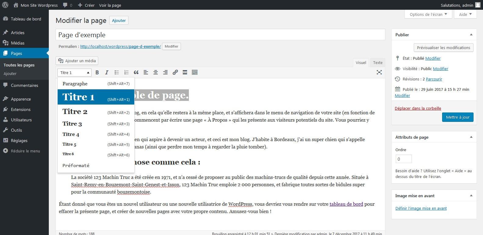 06 agencer les titres de votre page wordpress