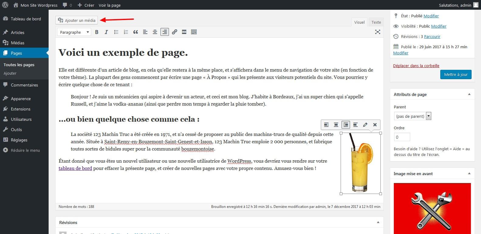 10 ajouter des medias dans votre page wordpress