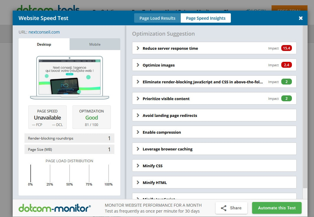 Dotcom monitor rapport ameliorer performance site internet