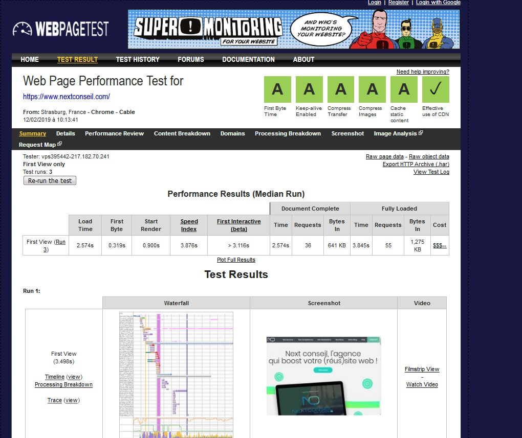 Webpagetest rapport ameliorer performance site internet