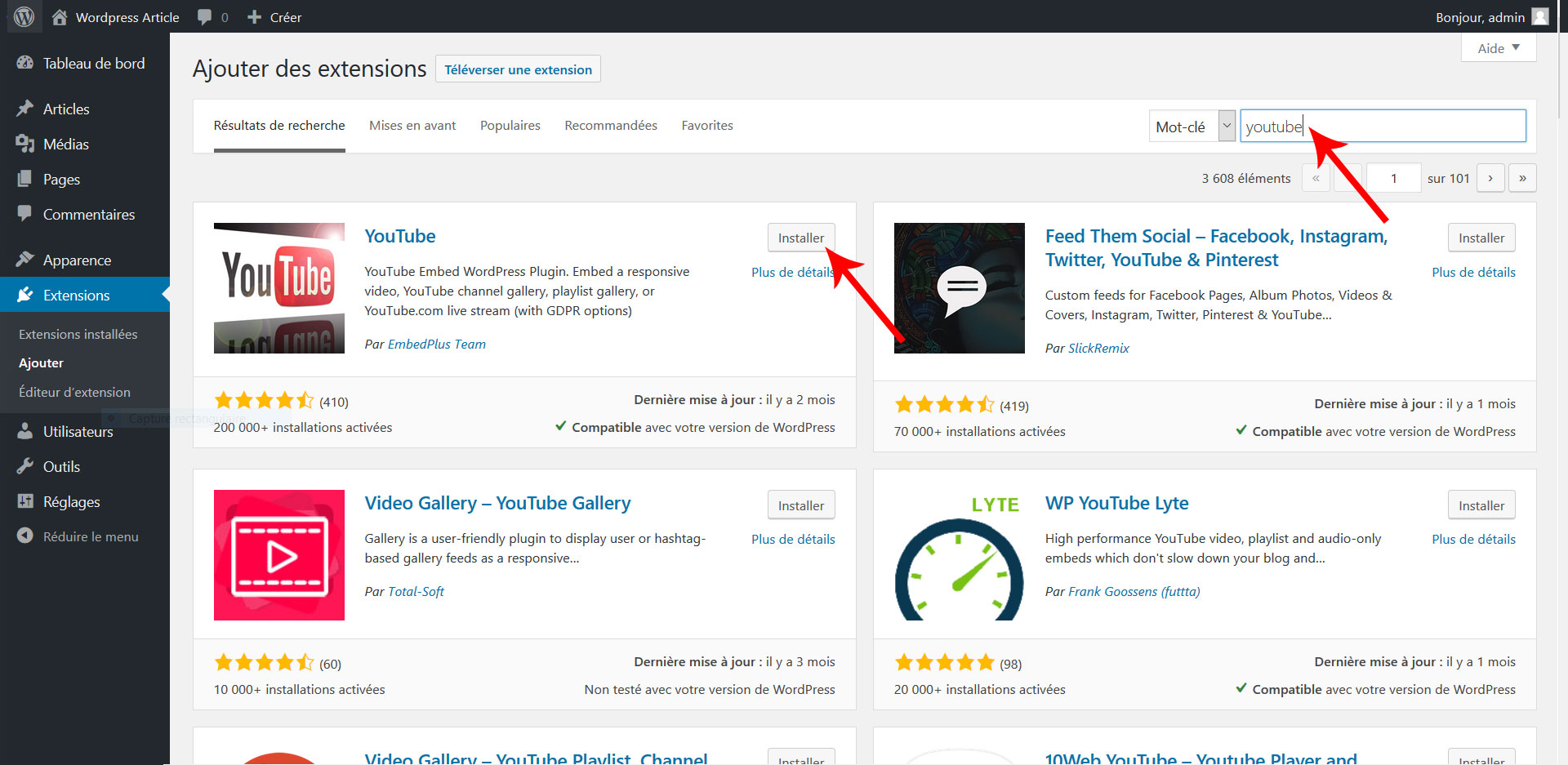 03 rechercher installer extension wordpress