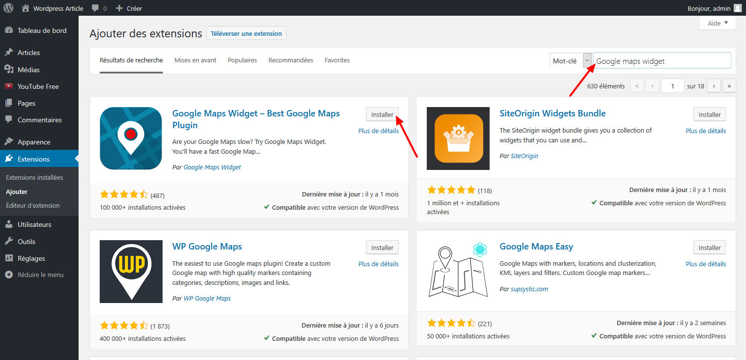 07 ajouter google maps widget wordpress