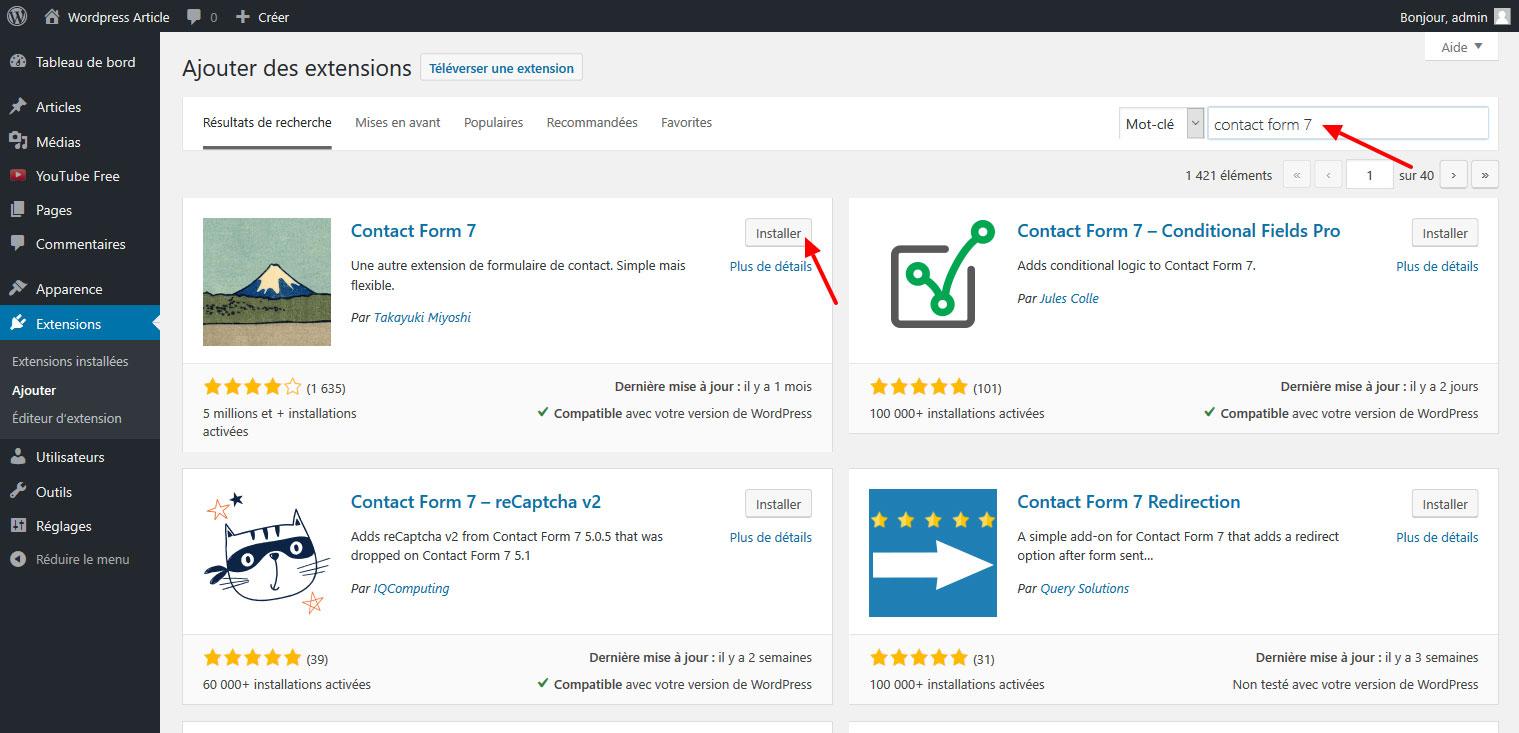 09 ajouter formulaire contact WordPress gutenberg