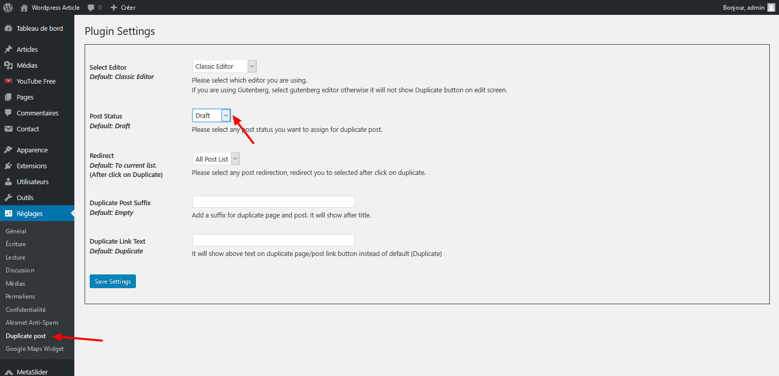 02 configurer extension dupliquer pages wordpress
