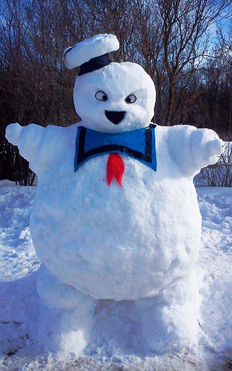ghostbuster en bonhomme de neige